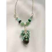 300 collier rubis zoisite, aventurine, apatite, chrysocolle, argent sterling