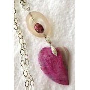 304 collier pendentif coeur agate rose argent sterling