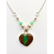 326 collier  coeur chrysoprase, argent sterling