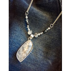 328 Collier quartz tourmaline, argent sterling