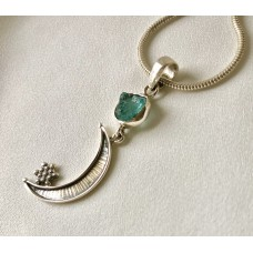 382 collier demi lune, aigue marine,argent sterling