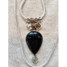 386 collier onyx, diamant herkimer, argent sterling