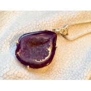 388 collier agate druzzy violet argent sterling