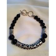 463 bracelet hommes obsidienne, argent sterling