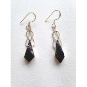 603 collection  boucles d'oreilles shungite,s argent sterling