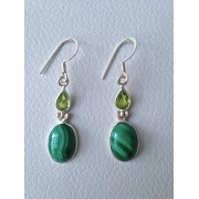 615 collection 2015 boucles d'oreilles malachite, péridot, argent sterling