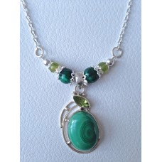 616 collier malachite, péridot, argent sterling