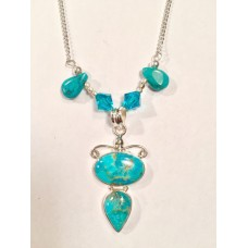 "634 collier turquoise,  chaine 20"" argent sterling"