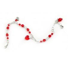 136 Bracelet de cheville swarovski rouge
