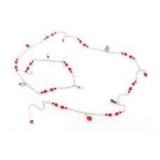 Chaine de taille swarovski rouge et blanc